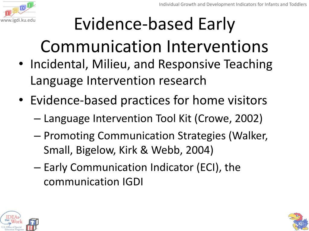 Evidence-based Early Communication Interventions