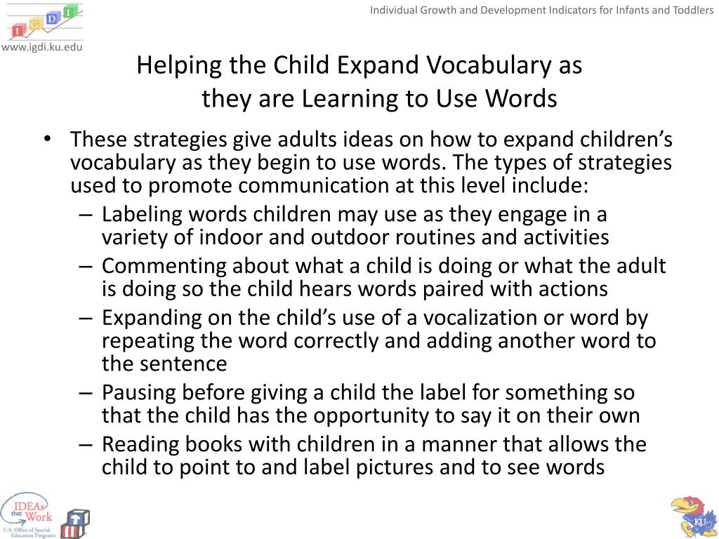 Helping the Child Expand Vocabulary as