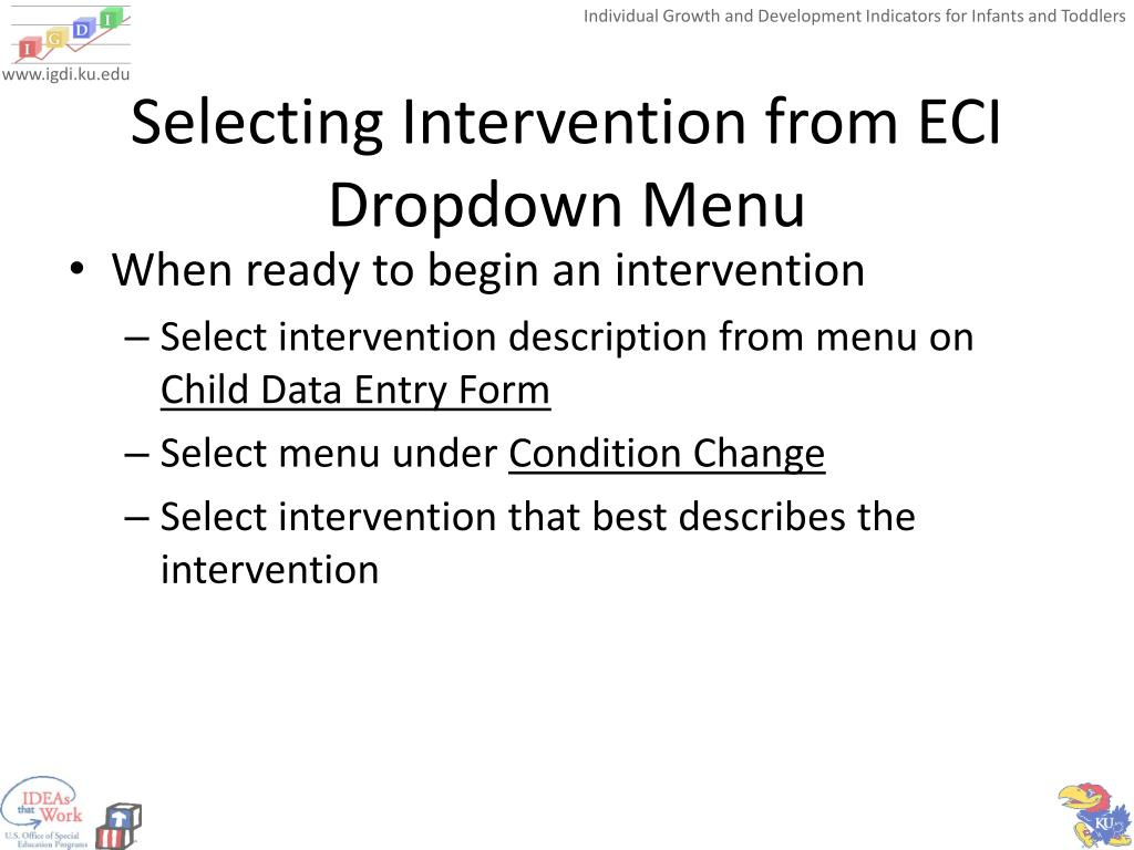 Selecting Intervention from ECI Dropdown Menu