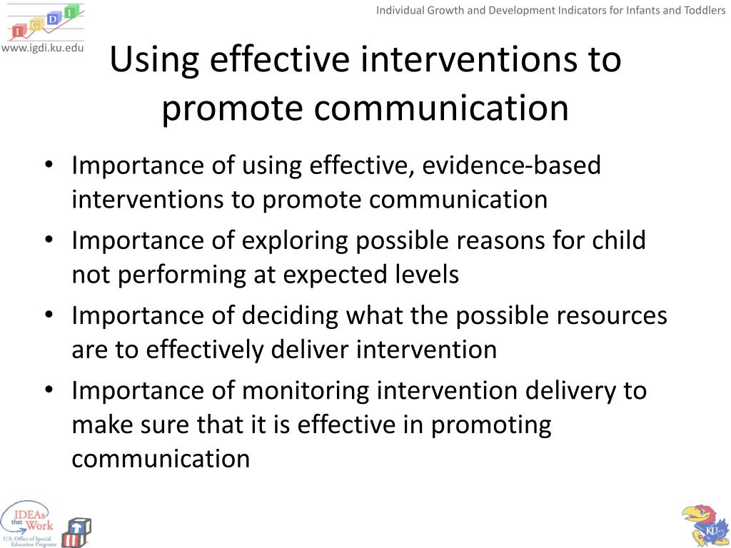 Using effective interventions to promote communication