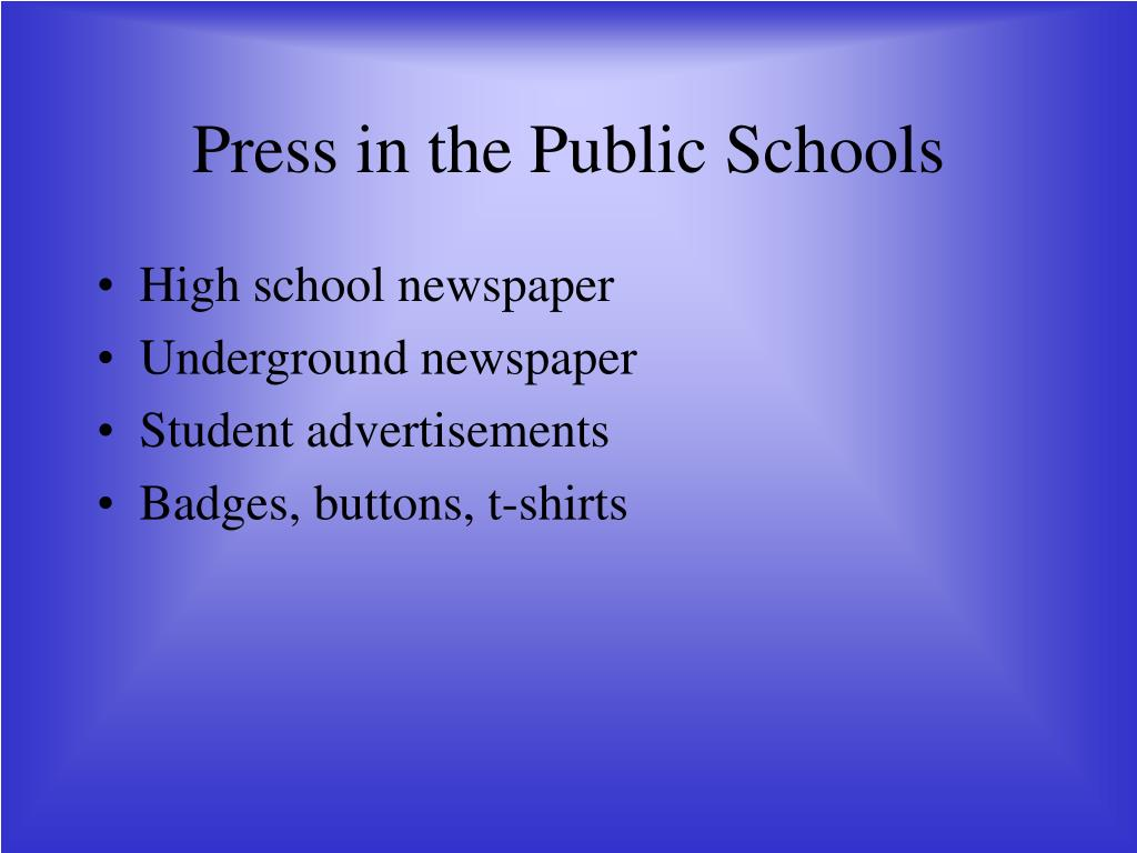Press in the Public Schools