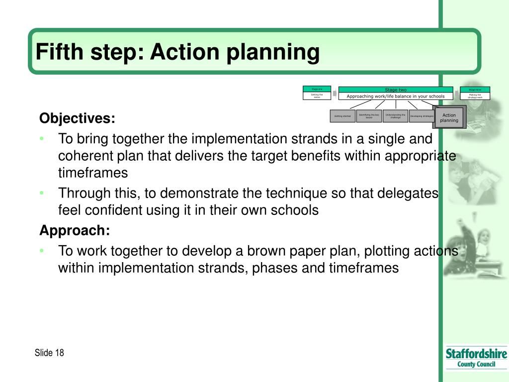 Fifth step: Action planning