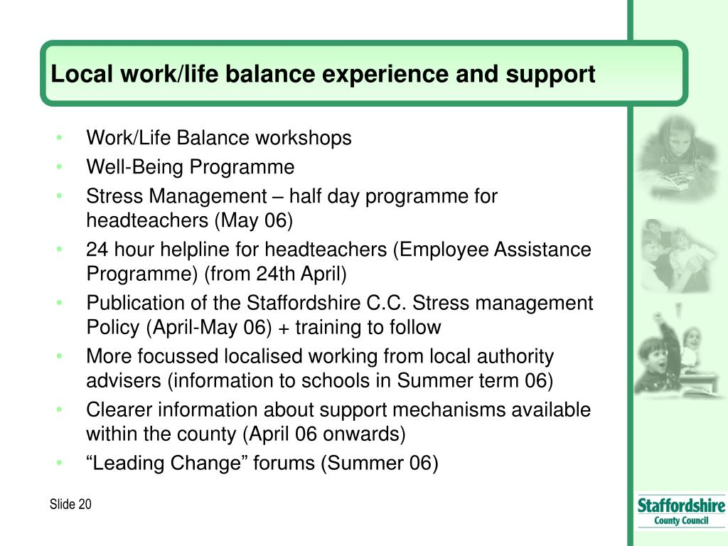 Local work/life balance experience and support