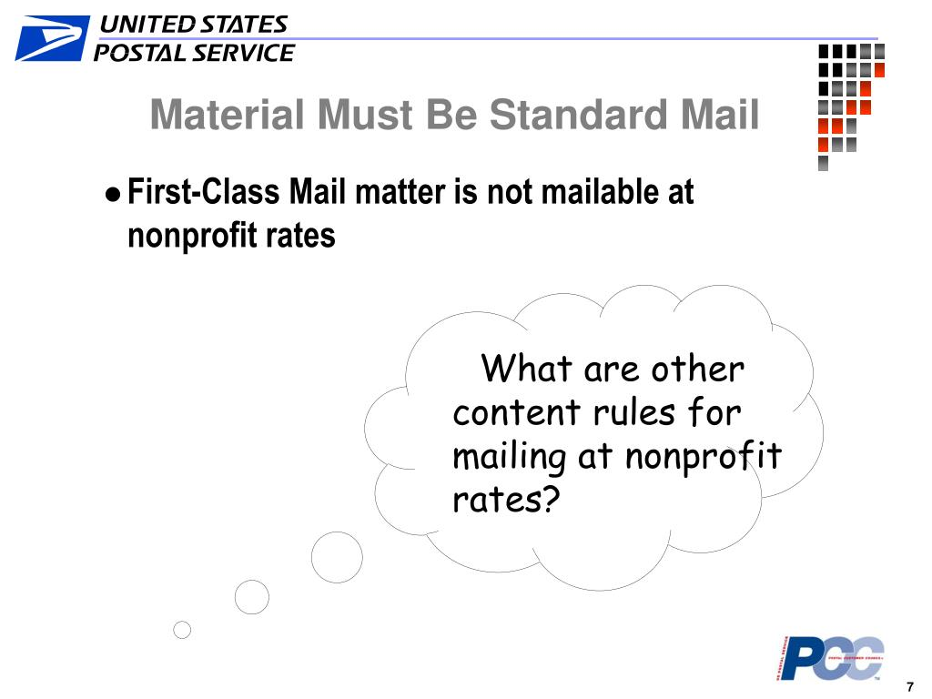 What are other content rules for mailing at nonprofit rates?