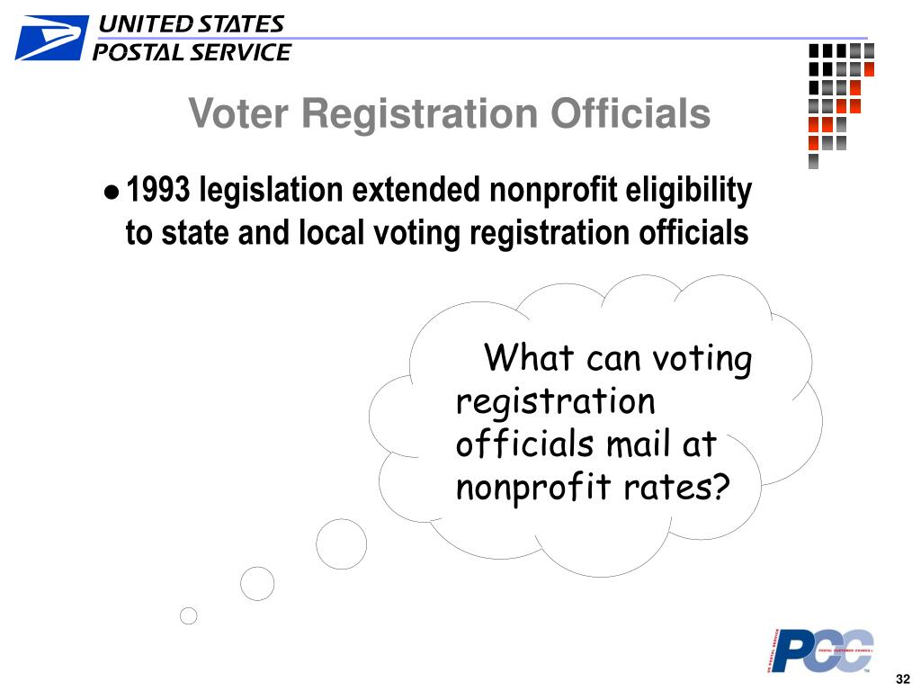 What can voting registration officials mail at nonprofit rates?