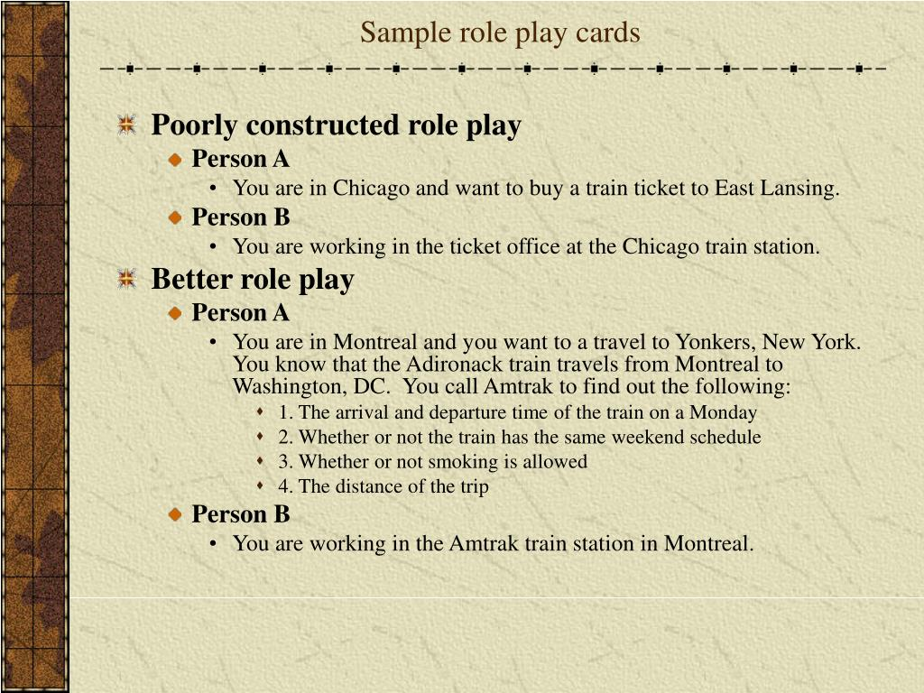 Sample role play cards