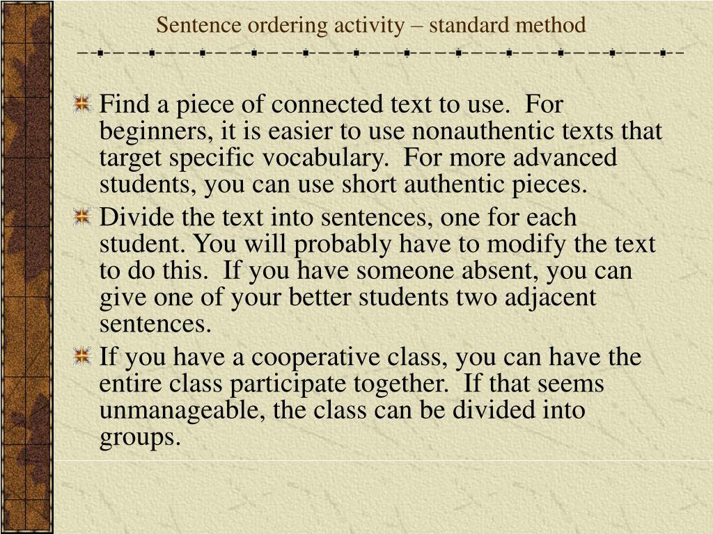 Sentence ordering activity – standard method