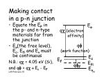 making contact in a p n junction
