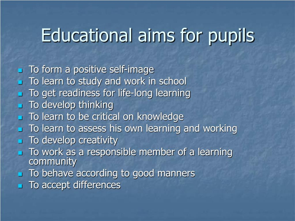 Educational aims for pupils