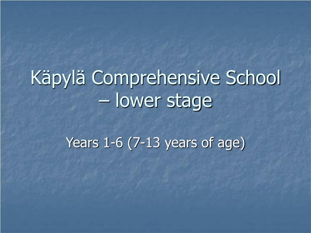 Käpylä Comprehensive School – lower stage