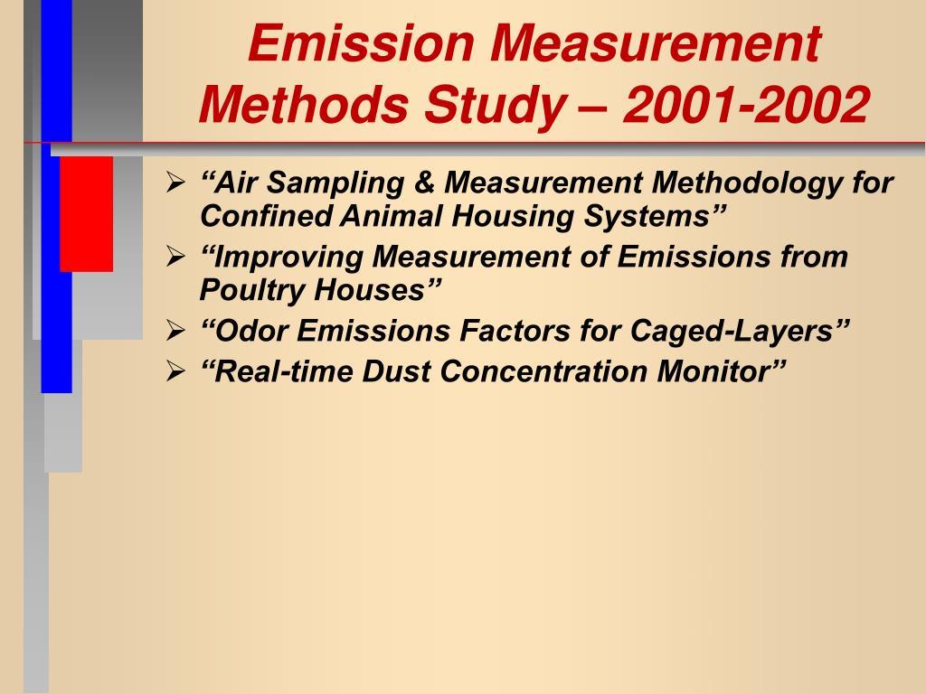 Emission Measurement Methods Study – 2001-2002