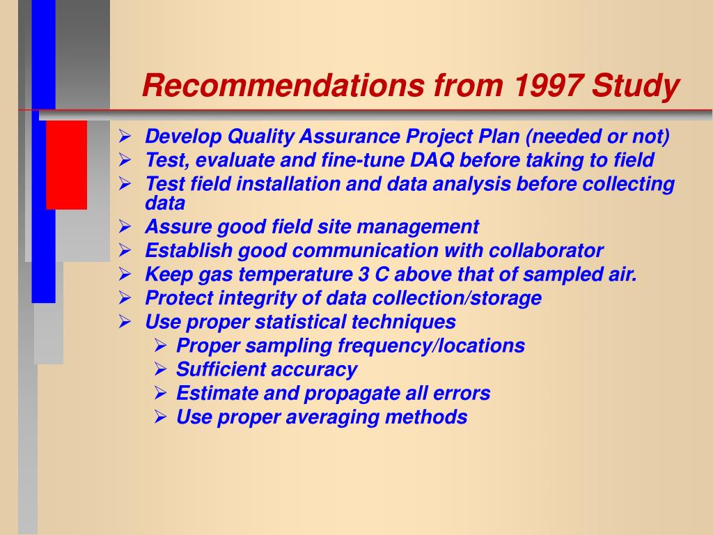 Recommendations from 1997 Study