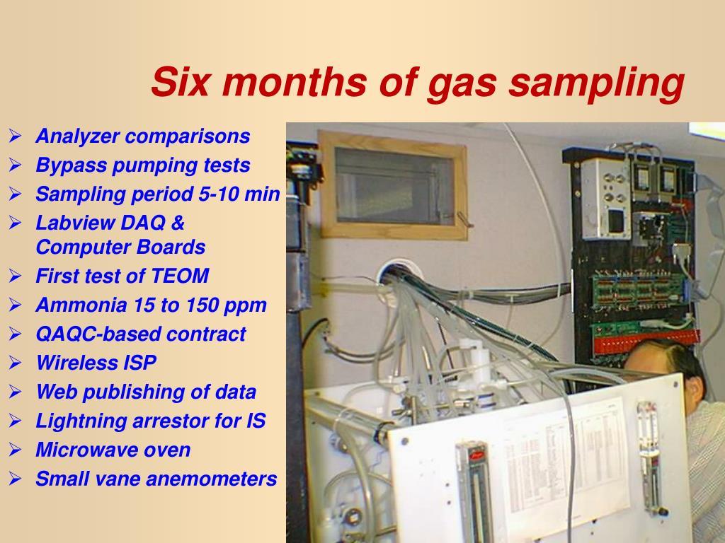 Six months of gas sampling
