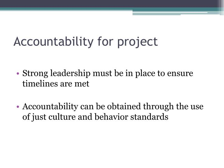 Accountability for project