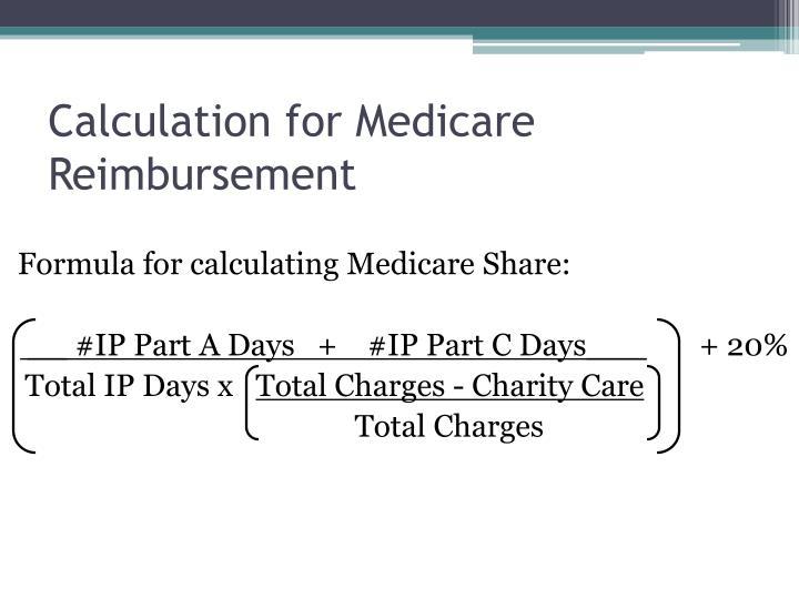 Calculation for Medicare Reimbursement