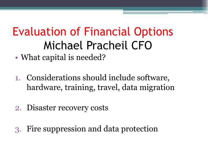 Evaluation of Financial Options