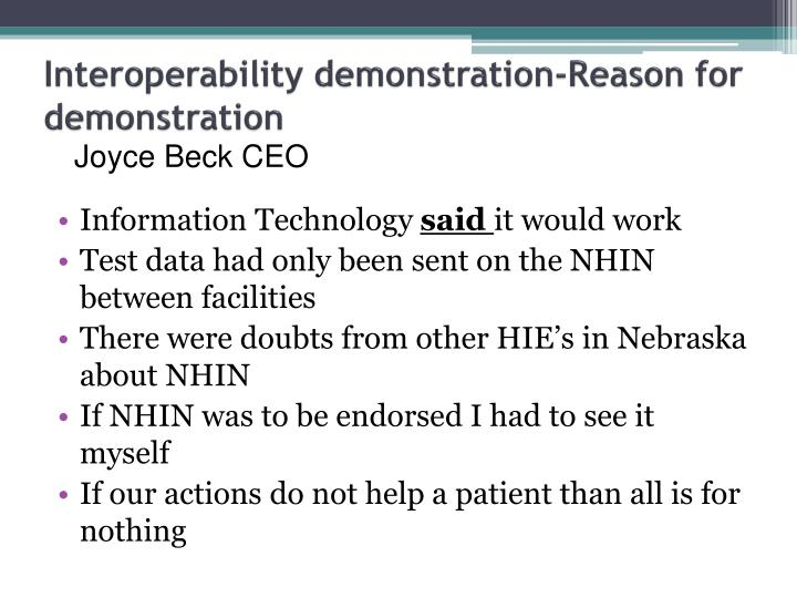 Interoperability demonstration-Reason for demonstration