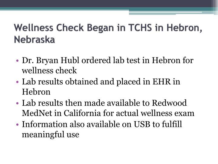 Wellness Check Began in TCHS in Hebron, Nebraska