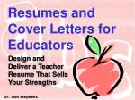 resumes and cover letters for educators