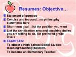 resumes objective