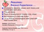 resumes recent experience