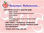 resumes references