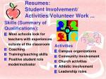 resumes student involvement activities volunteer work