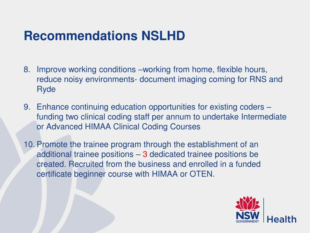Recommendations NSLHD