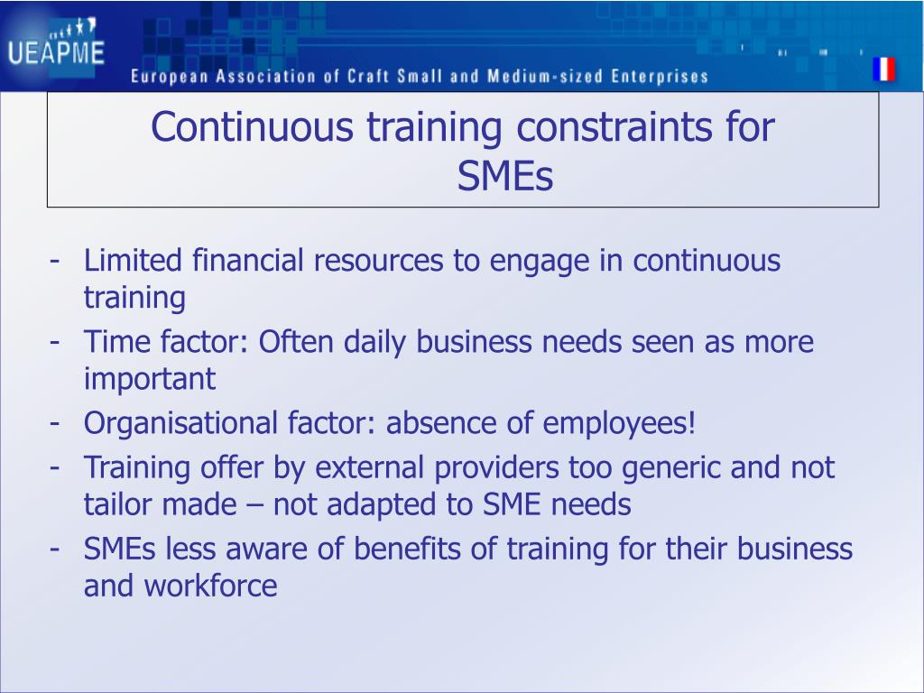 Continuous training constraints for