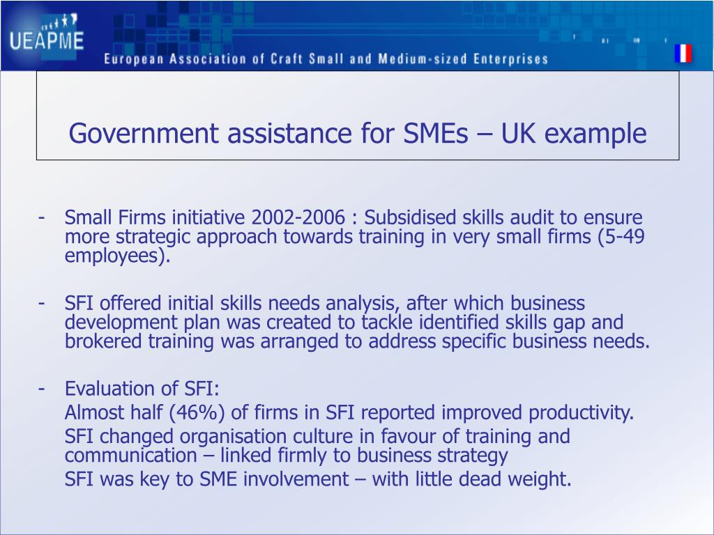 Government assistance for SMEs – UK example