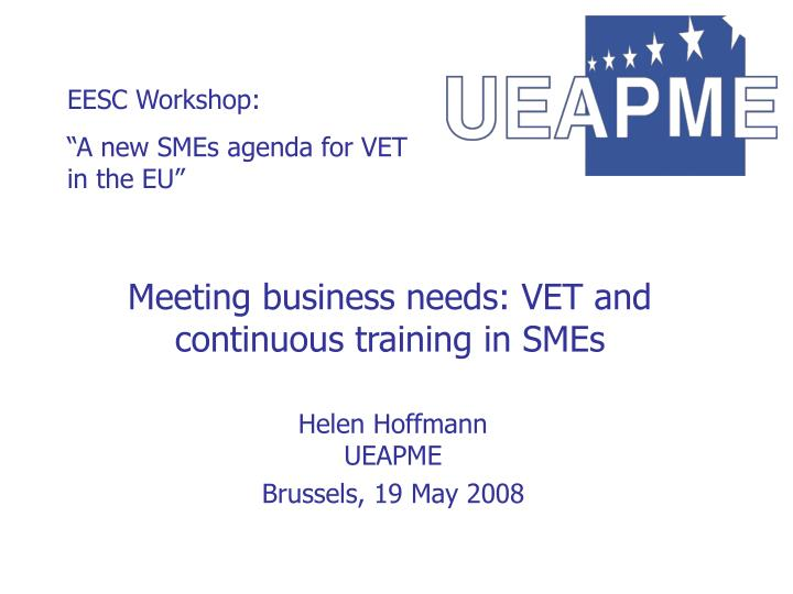 Meeting business needs vet and continuous training in smes