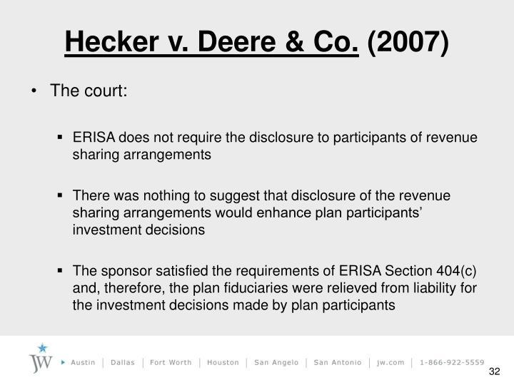 Hecker v. Deere & Co.