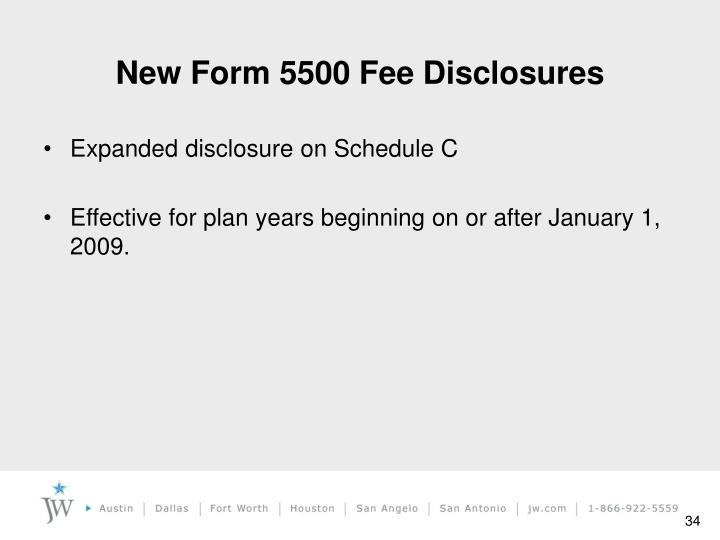 New Form 5500 Fee Disclosures