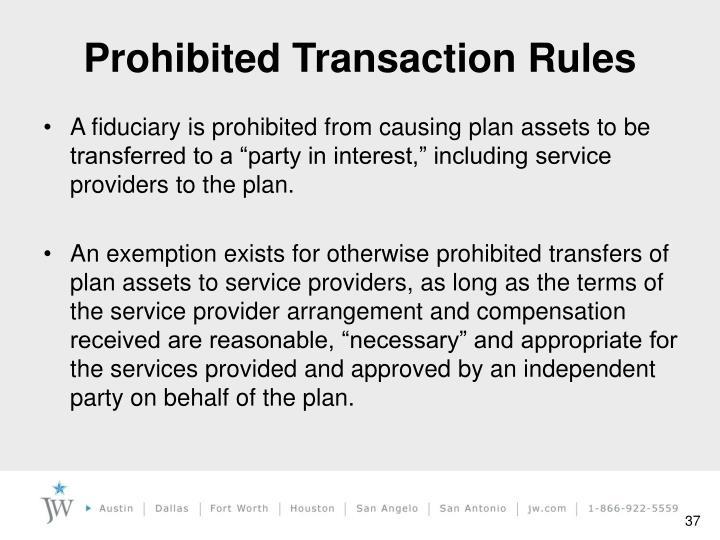 Prohibited Transaction Rules