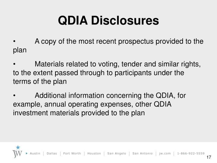 QDIA Disclosures