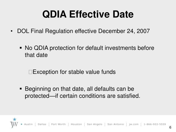 QDIA Effective Date