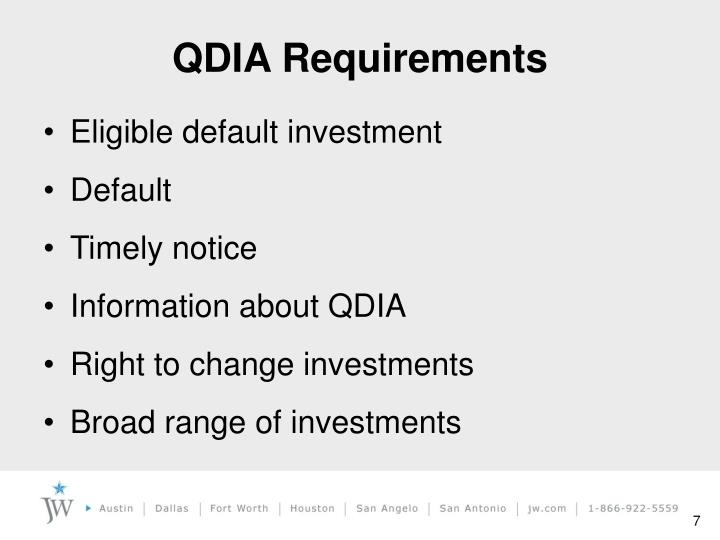 QDIA Requirements