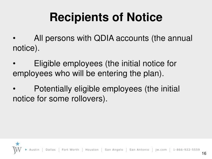 Recipients of Notice
