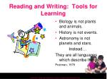 reading and writing tools for learning