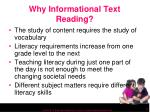 why informational text reading