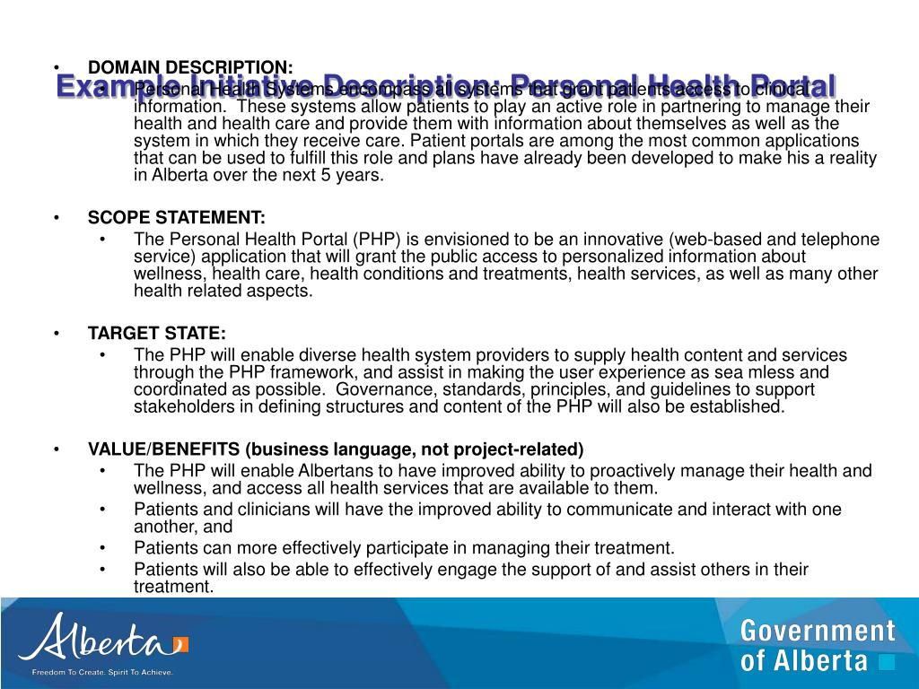 Example Initiative Description: Personal Health Portal