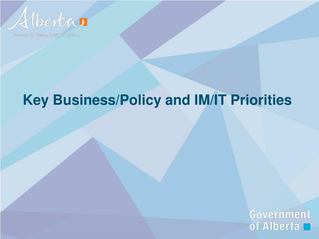 Key Business/Policy and IM/IT Priorities