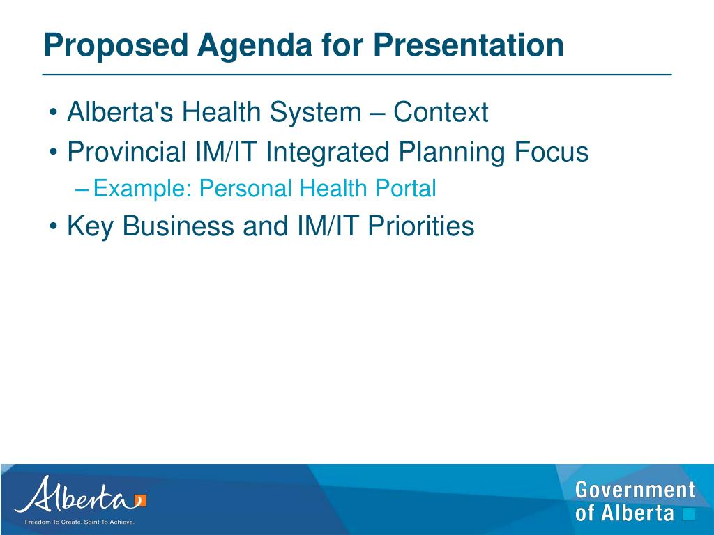 Proposed Agenda for Presentation