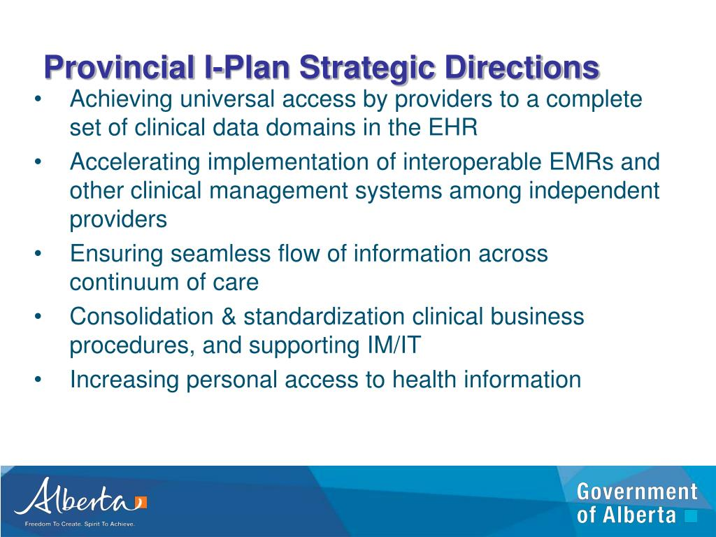 Provincial I-Plan Strategic Directions