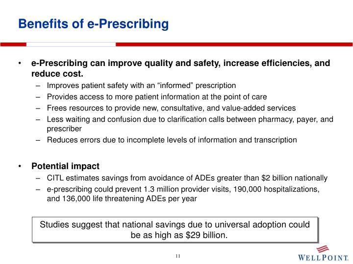 Benefits of e-Prescribing