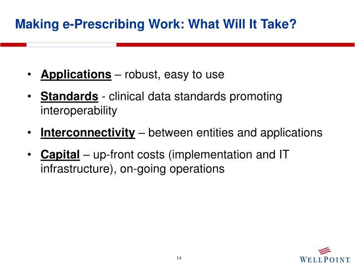 Making e-Prescribing Work: What Will It Take?