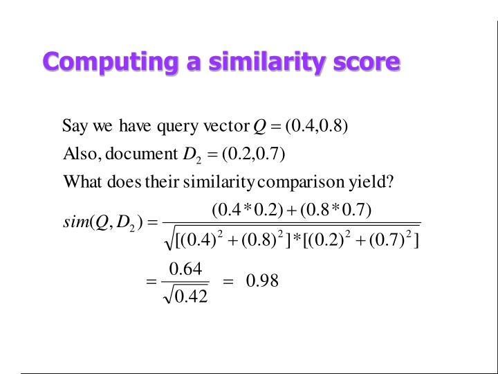 Computing a similarity score