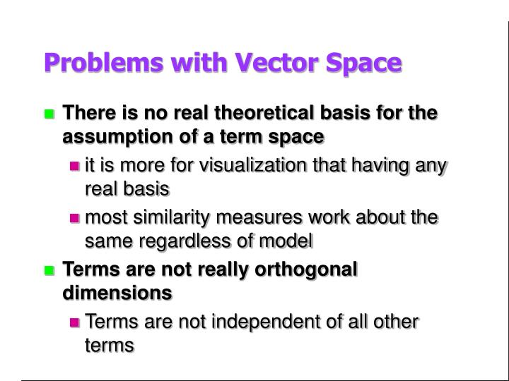 Problems with Vector Space