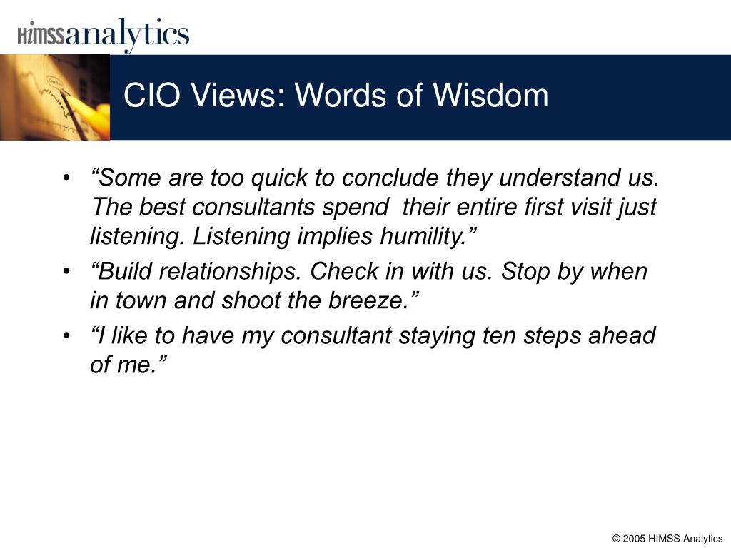 CIO Views: Words of Wisdom