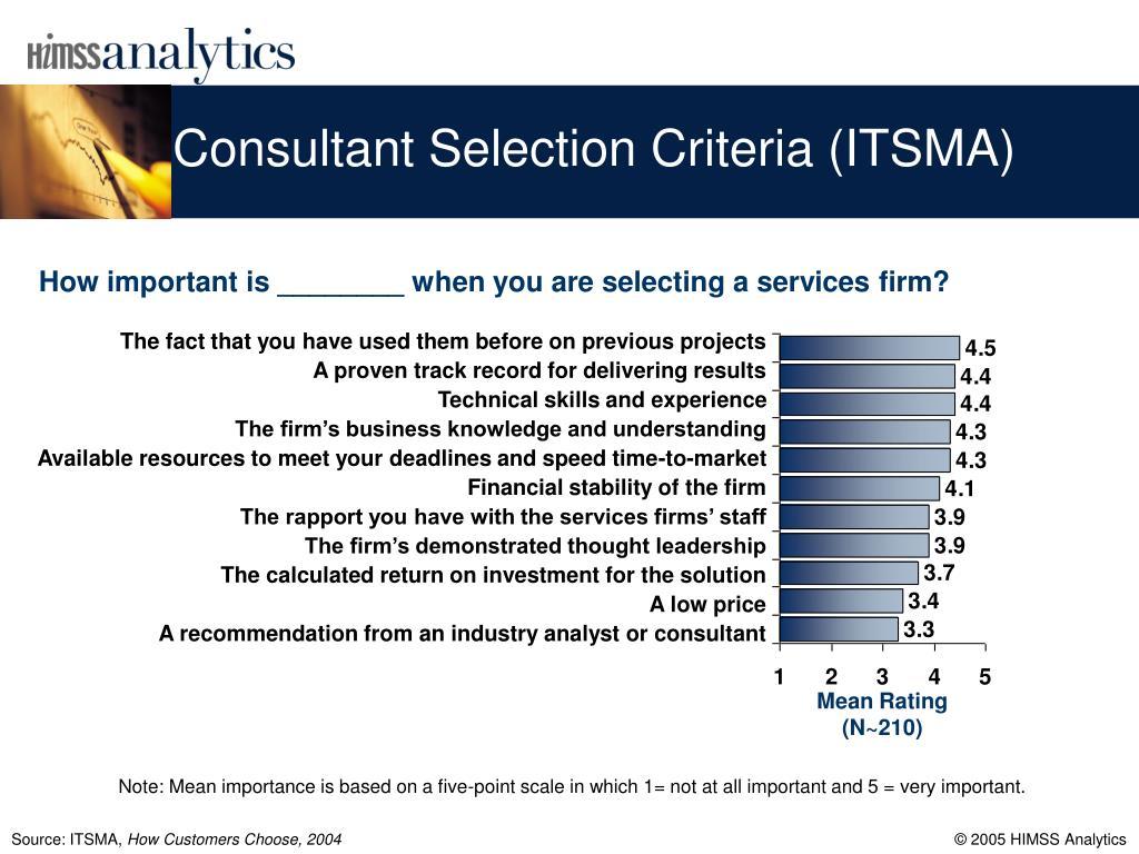 Consultant Selection Criteria (ITSMA)